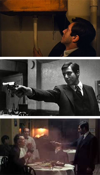 an analysis of the hospital scene in the movie the godfather Plot summary for the godfather (1972) in the scene when michael visits his father in the hospital in 1945 there's a nyc fire dept sign on the wall with the.
