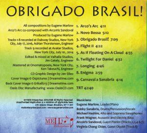 """Obrigado Brasil!"" Eugene Marlow's Heritage Ensemble Back Cover"