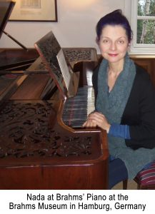 Nada in Hamberg at Brahms' piano at the Brahms Museum, Hamburg, Germany