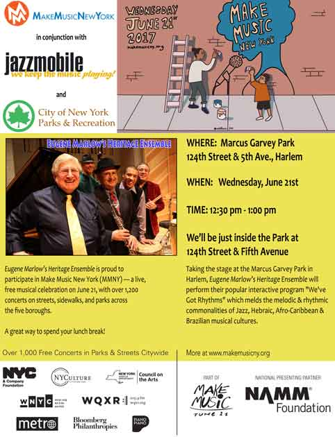 Make Music New York 2017 in conjunction with JazzMobile & NYC Parks & Recreation
