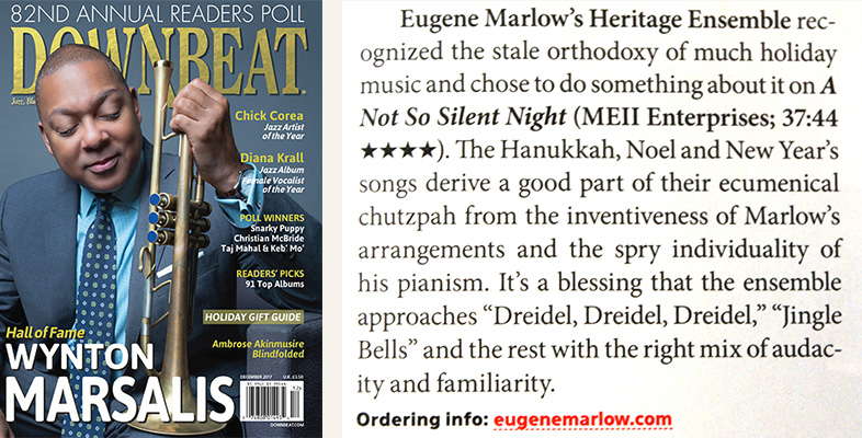 "Downbeat cover & review of Eugene Marlow's Heritage Ensemble's ""A Not So Silent Night"" December 2017 issue"